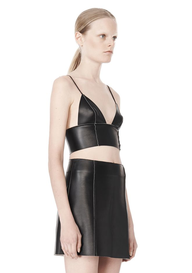 T by ALEXANDER WANG RAW EDGE TRIANGLE LEATHER BRALETTE Swimwear Adult 12_n_a