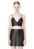 T by ALEXANDER WANG RAW EDGE TRIANGLE LEATHER BRALETTE Swimwear Adult 8_n_e