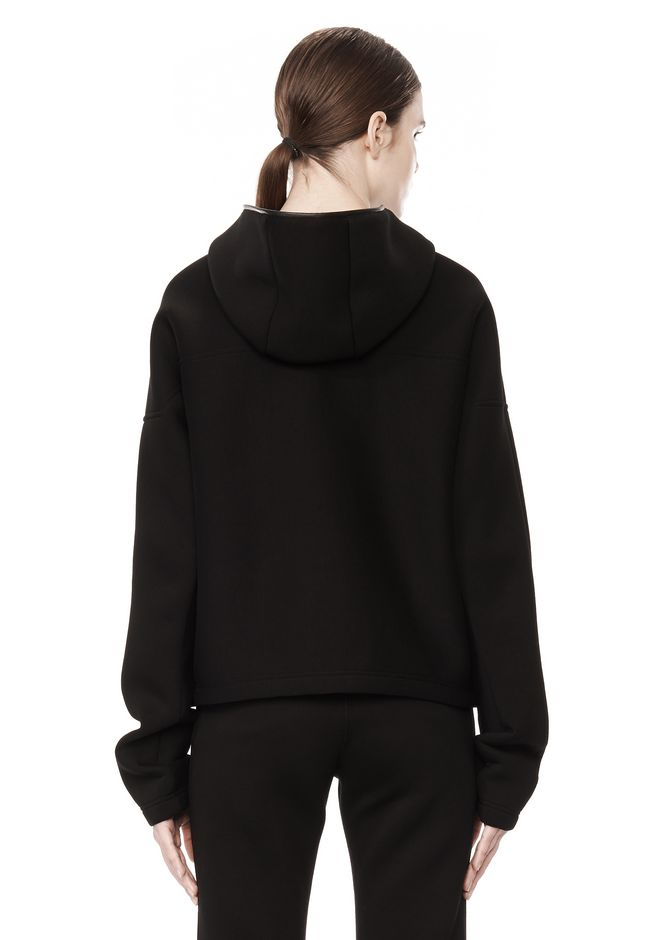 T by ALEXANDER WANG SCUBA DOUBLE KNIT HOODIE W ITH LEATHER TRIM TOP Adult 12_n_d