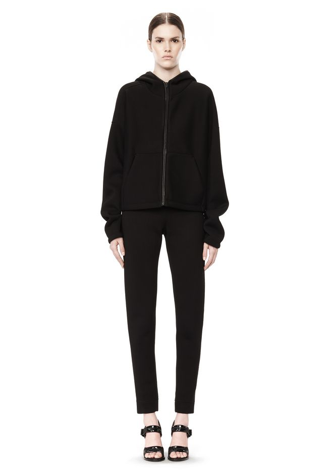 T by ALEXANDER WANG SCUBA DOUBLE KNIT HOODIE W ITH LEATHER TRIM TOP Adult 12_n_f