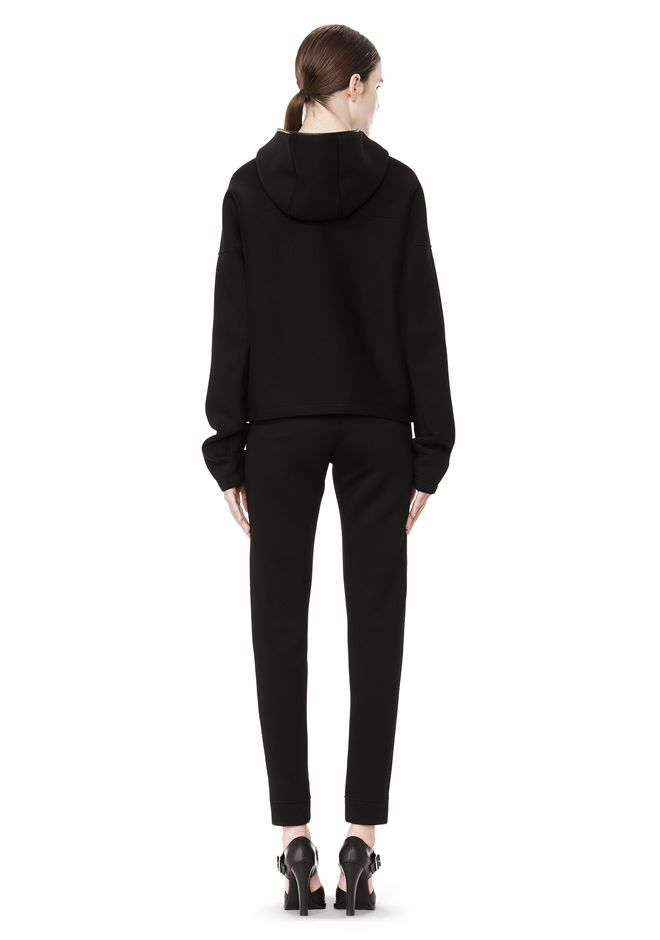 T by ALEXANDER WANG SCUBA DOUBLE KNIT HOODIE W ITH LEATHER TRIM TOP Adult 12_n_r
