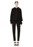 T by ALEXANDER WANG SCUBA DOUBLE KNIT HOODIE W ITH LEATHER TRIM TOP Adult 8_n_f