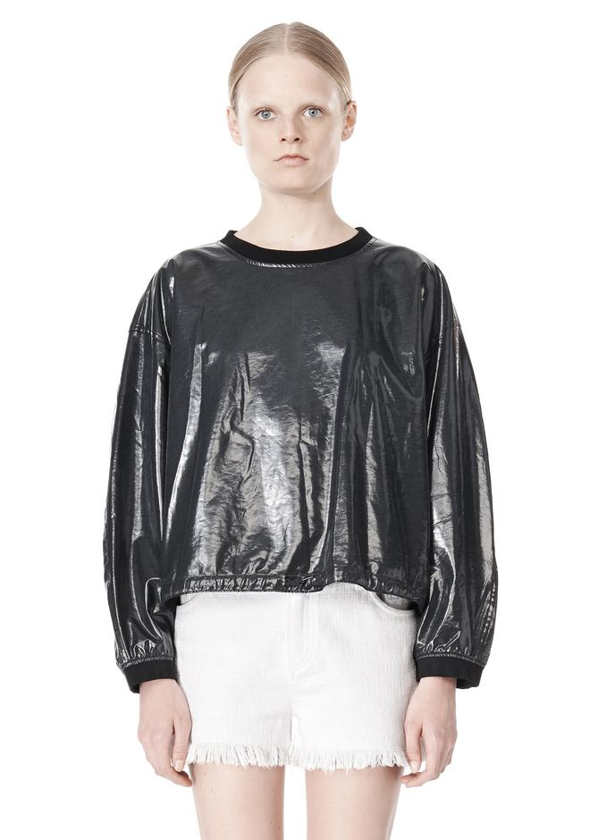 T by ALEXANDER WANG LAMINATED COTTON TERRY SWEATSHIRT TOP Adult 12_n_e