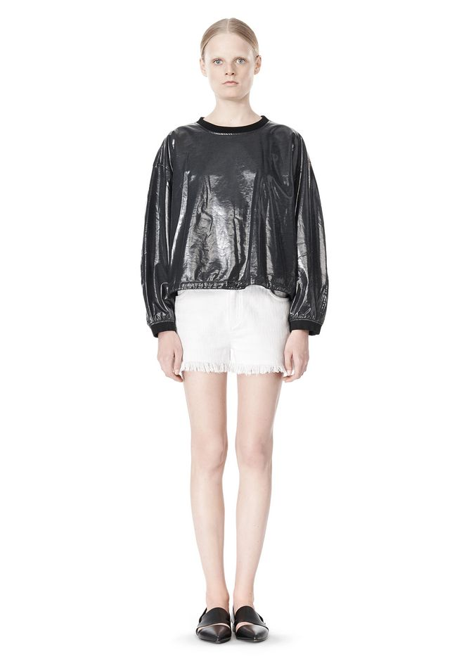 T by ALEXANDER WANG LAMINATED COTTON TERRY SWEATSHIRT TOP Adult 12_n_f