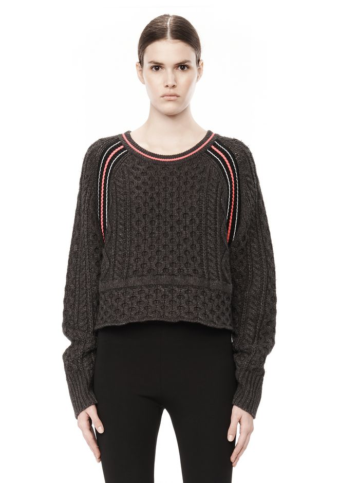 T by ALEXANDER WANG MERINO BLEND PULLOVER WITH RIB DETAIL TOP Adult 12_n_e