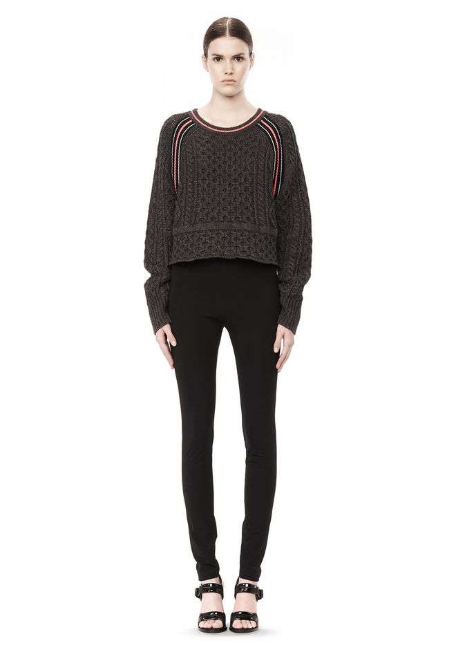 T by ALEXANDER WANG MERINO BLEND PULLOVER WITH RIB DETAIL TOP Adult 12_n_f
