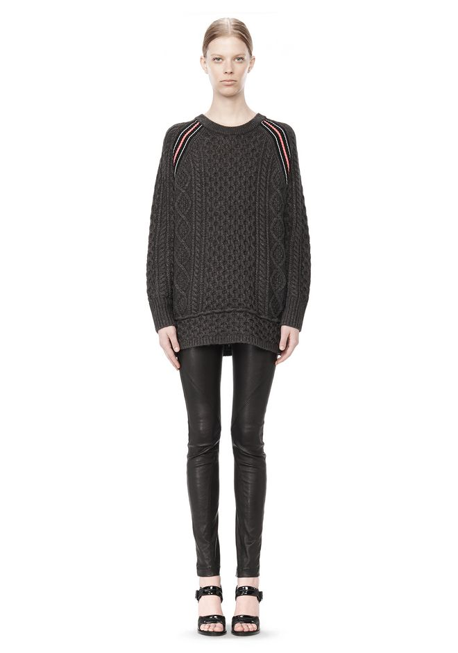 T by ALEXANDER WANG MERINO BLEND TUNIC WITH RIB DETAIL TOP Adult 12_n_f