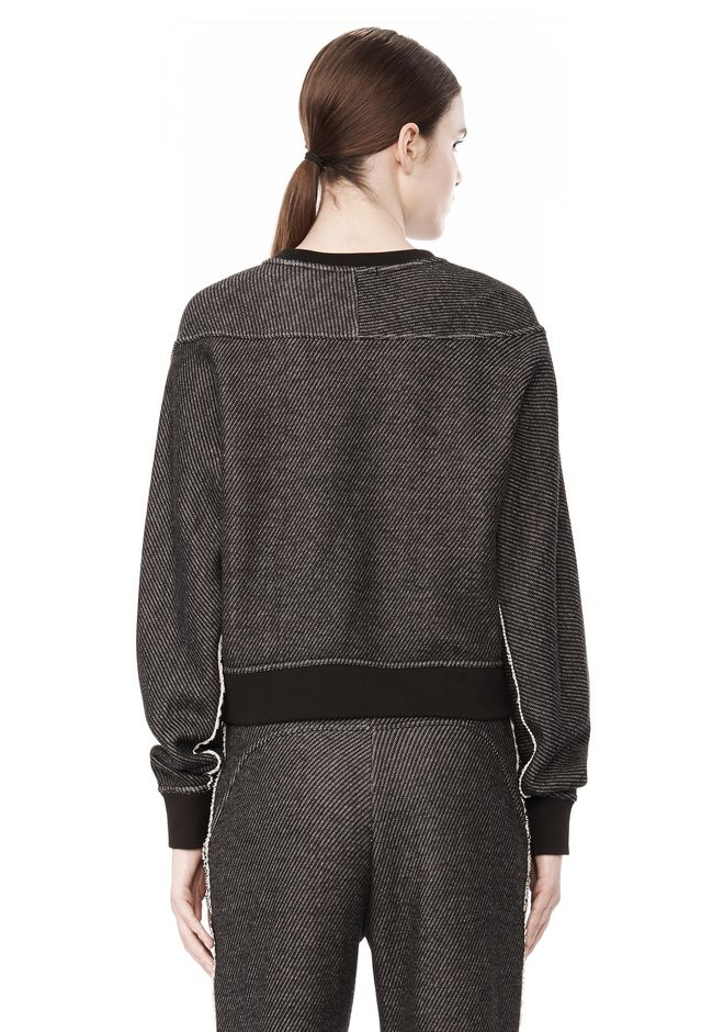 T by ALEXANDER WANG COTTON TWILL FRENCH TERRY CROPPED SWEATSHIRT TOP Adult 12_n_d