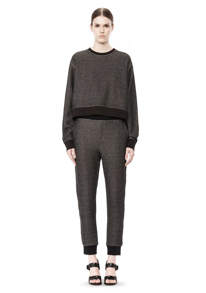 T by ALEXANDER WANG COTTON TWILL FRENCH TERRY CROPPED SWEATSHIRT TOP Adult 12_n_f