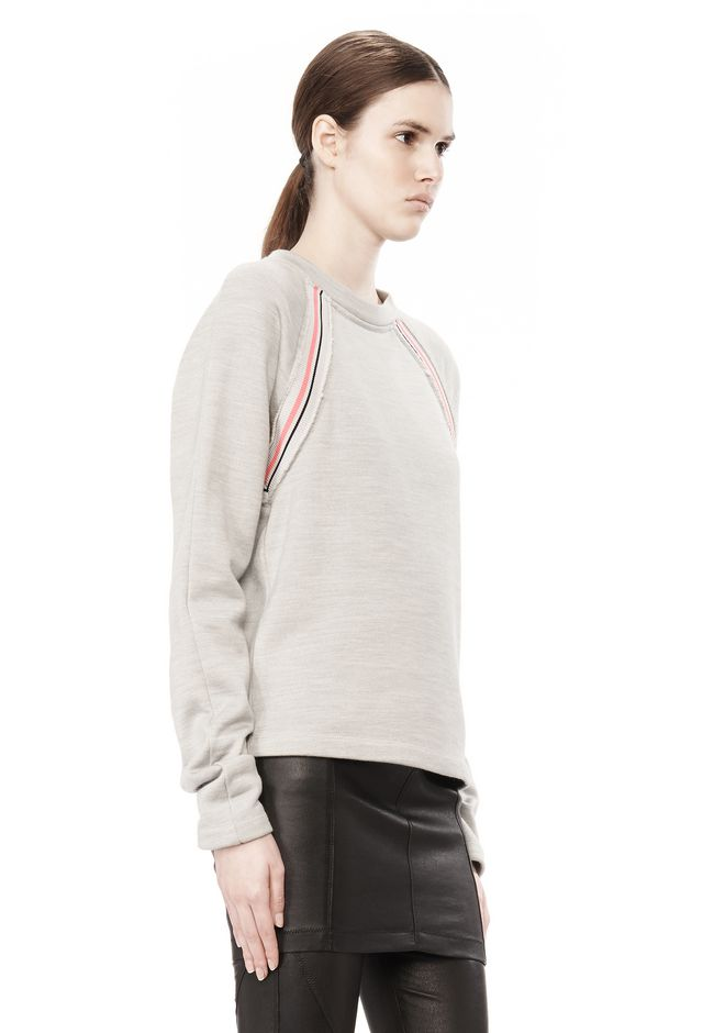 T by ALEXANDER WANG MELANGE FLEECE CREWNECK PULLOVER WITH RIB DETAIL TOP Adult 12_n_a