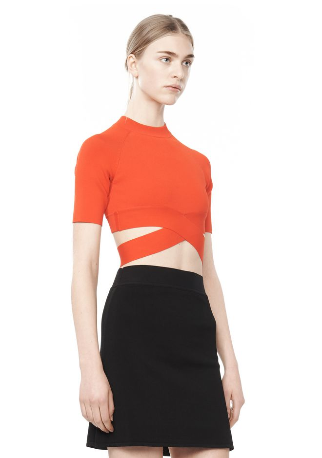 T By Alexander Wang Woman Cropped Stretch-knit Top Red Size S Alexander Wang 2018 Sale Online YsJBI