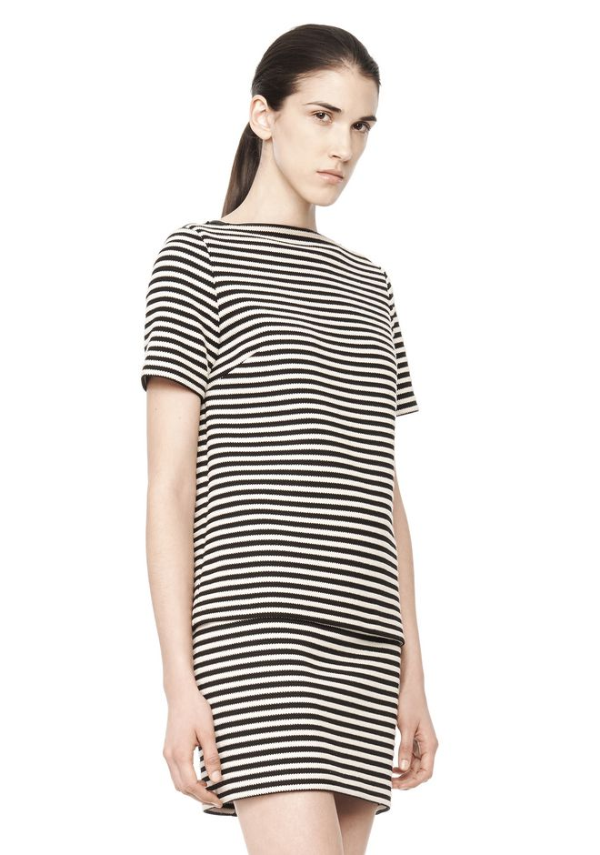 T by ALEXANDER WANG STRIPED BOATNECK TOP TOP Adult 12_n_a