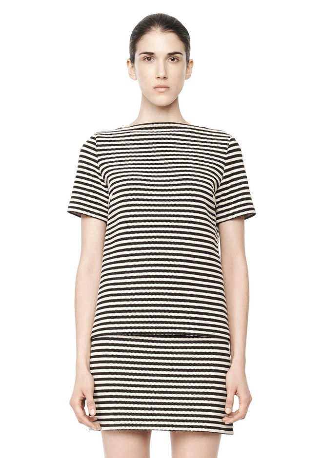 T by ALEXANDER WANG STRIPED BOATNECK TOP TOP Adult 12_n_e