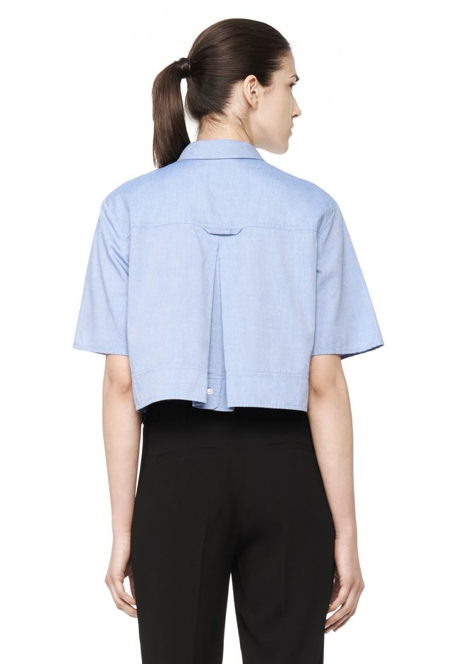 T By Alexander Wang Woman Cropped Striped Cotton-blend Poplin Shirt White Size 6 Alexander Wang From China Cheap Online Wz0Bnz99