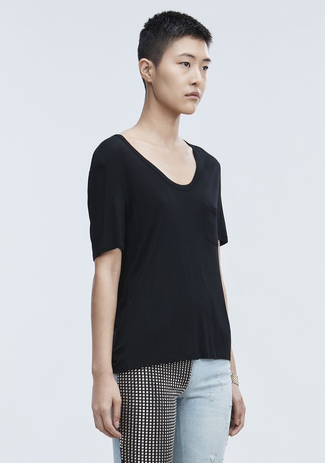 T by ALEXANDER WANG CROPPED TEE WITH POCKET  TOP Adult 12_n_a