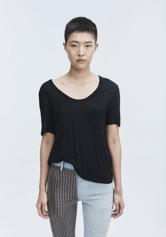 T by ALEXANDER WANG CROPPED TEE WITH POCKET  上衣 Adult 12_n_r