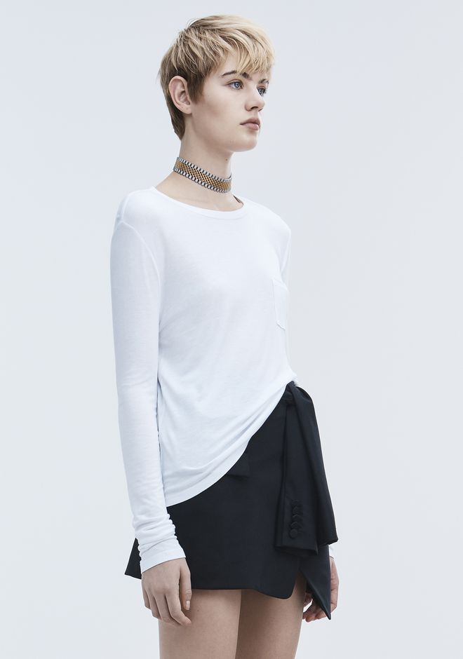 T by ALEXANDER WANG CROPPED LONG SLEEVE TEE WITH POCKET  TOP Adult 12_n_a