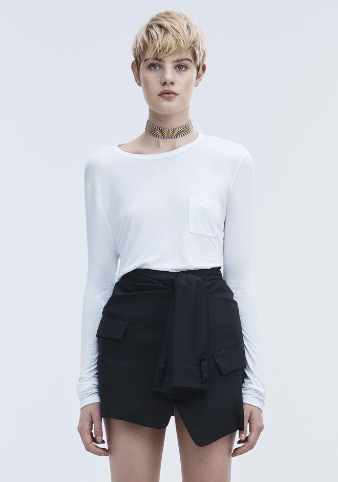 T by ALEXANDER WANG CROPPED LONG SLEEVE TEE WITH POCKET  TOP Adult 12_n_e