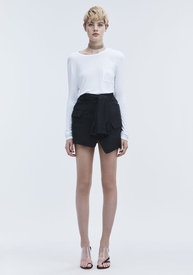 T by ALEXANDER WANG CROPPED LONG SLEEVE TEE WITH POCKET  TOP Adult 12_n_f