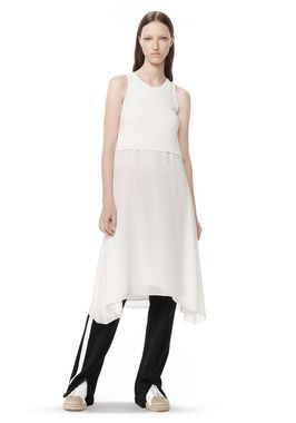 a699ce6517223 Alexander Wang RIB KNIT TANK WITH SILK COMBO SHIRTTAIL TOP ...