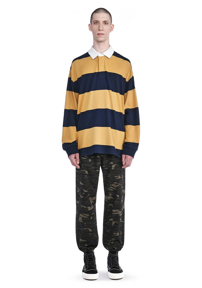 Striped Long Sleeve Collared Rugby Shirt by Alexander Wang