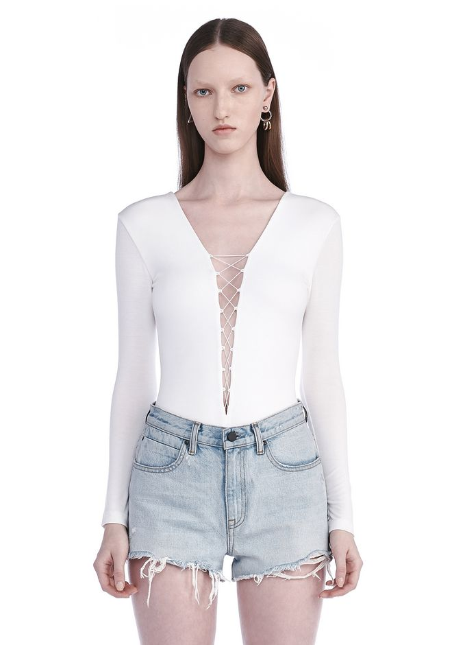 T by ALEXANDER WANG MODAL SPANDEX LONG SLEEVE BODYSUIT TOP Adult 12_n_e