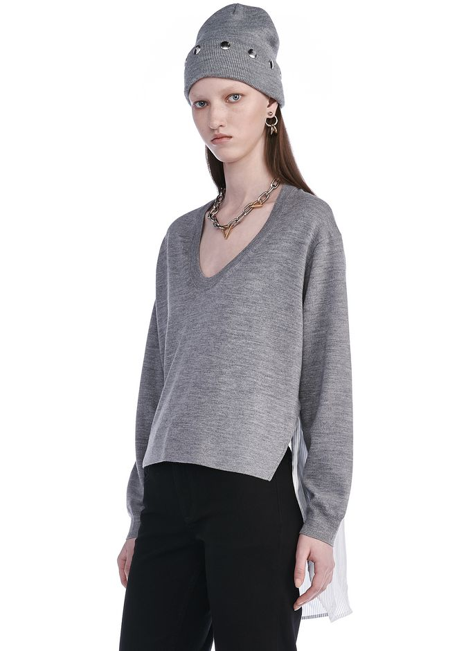 T by ALEXANDER WANG MERINO KNIT PULLOVER WITH VISCOSE COMBO  TOP Adult 12_n_a
