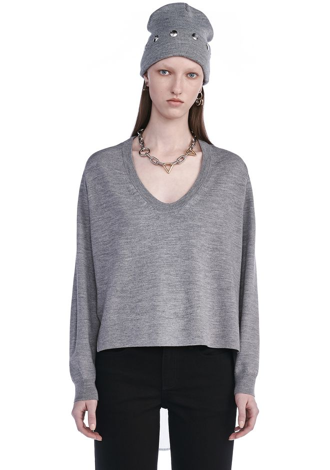 T by ALEXANDER WANG MERINO KNIT PULLOVER WITH VISCOSE COMBO  TOP Adult 12_n_e