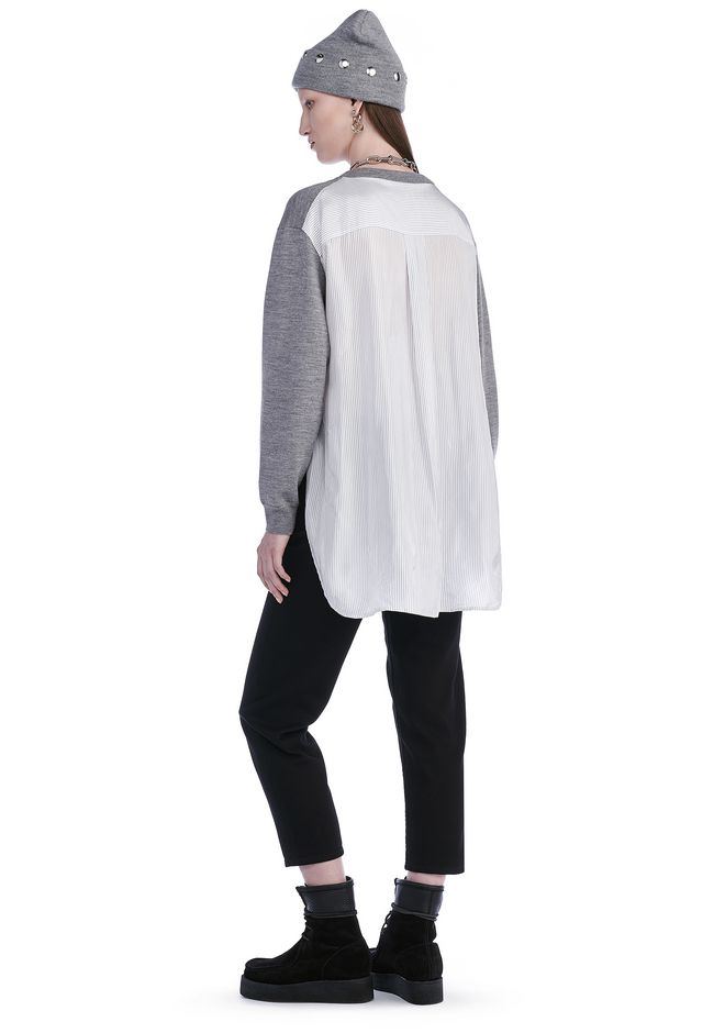 T by ALEXANDER WANG MERINO KNIT PULLOVER WITH VISCOSE COMBO  TOP Adult 12_n_f