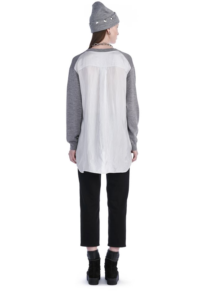 T by ALEXANDER WANG MERINO KNIT PULLOVER WITH VISCOSE COMBO  TOP Adult 12_n_r