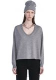 T by ALEXANDER WANG MERINO KNIT PULLOVER WITH VISCOSE COMBO  TOP Adult 8_n_e