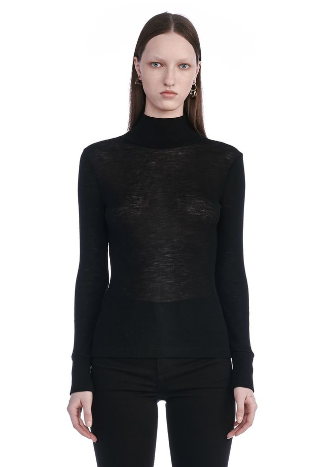 T by ALEXANDER WANG SHEER WOOLY RIB LONG SLEEVE TURTLENECK  TOP Adult 12_n_a