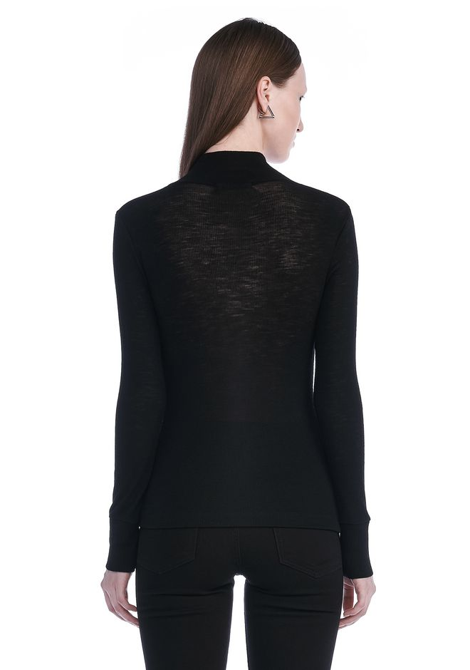 T by ALEXANDER WANG SHEER WOOLY RIB LONG SLEEVE TURTLENECK  TOP Adult 12_n_d