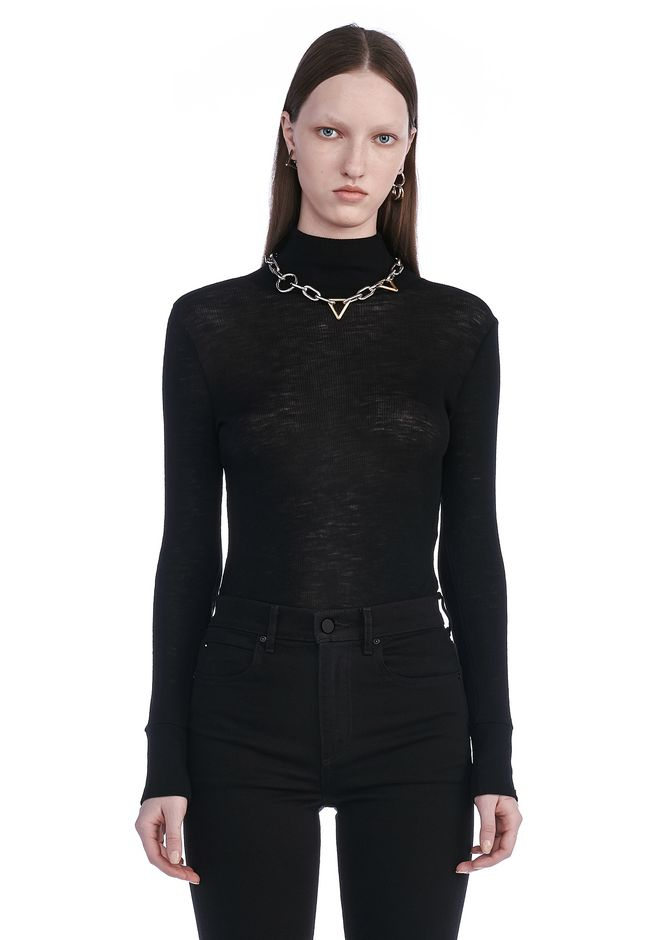 T by ALEXANDER WANG SHEER WOOLY RIB LONG SLEEVE TURTLENECK  TOP Adult 12_n_e