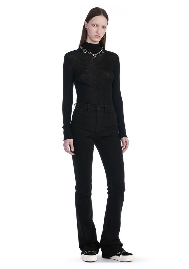 T by ALEXANDER WANG SHEER WOOLY RIB LONG SLEEVE TURTLENECK  TOP Adult 12_n_f