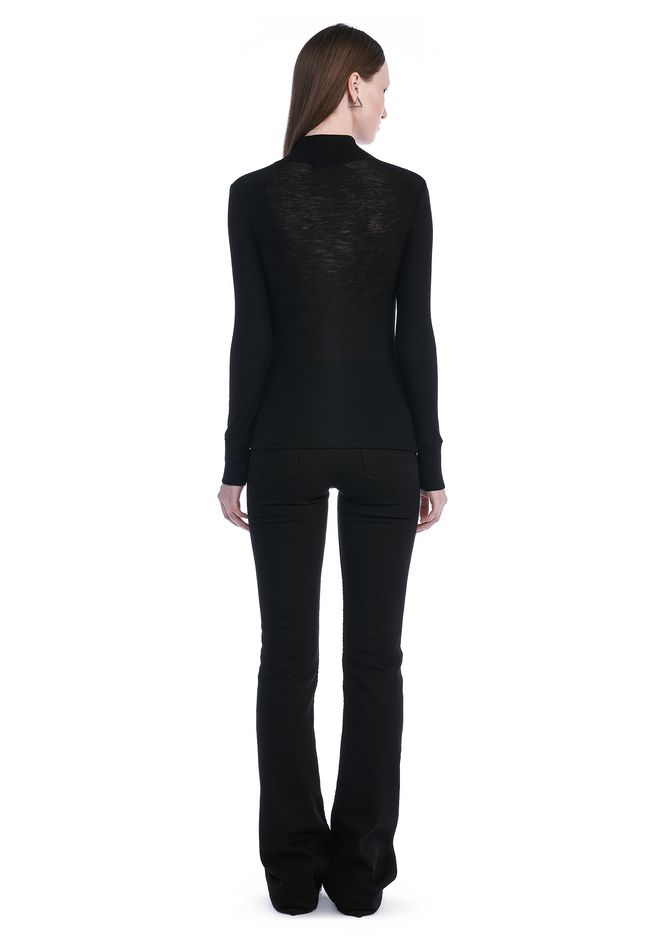 T by ALEXANDER WANG SHEER WOOLY RIB LONG SLEEVE TURTLENECK  TOP Adult 12_n_r