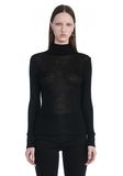 T by ALEXANDER WANG SHEER WOOLY RIB LONG SLEEVE TURTLENECK  TOP Adult 8_n_a