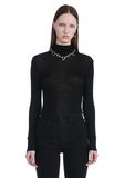 T by ALEXANDER WANG SHEER WOOLY RIB LONG SLEEVE TURTLENECK  TOP Adult 8_n_e