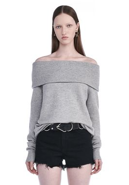 CASHWOOL KNIT OFF THE SHOULDER PULLOVER