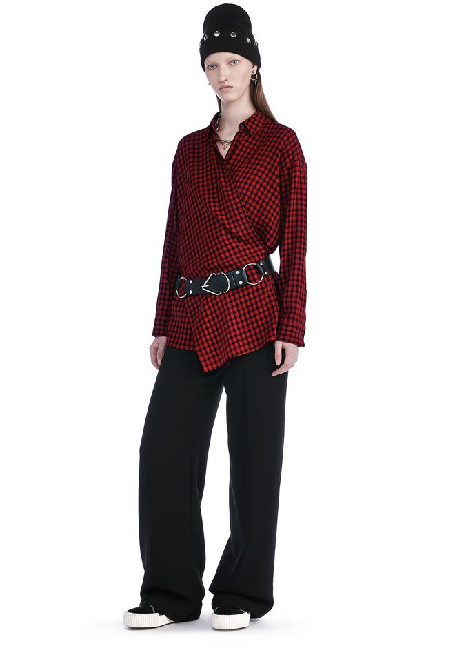 T by ALEXANDER WANG CHECKERED ASYMMETRICAL LONG SLEEVE WRAP BLOUSE TOP Adult 12_n_f