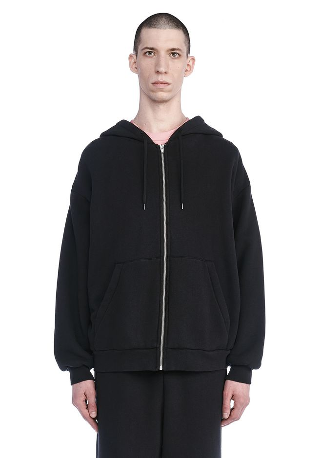 T by ALEXANDER WANG TOPS LONG SLEEVE ZIPPERED HOODED SWEATSHIRT