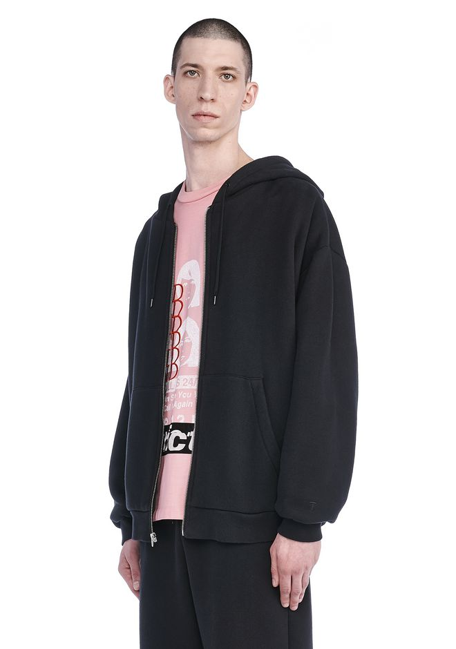 T by ALEXANDER WANG LONG SLEEVE ZIPPERED HOODED SWEATSHIRT 탑 Adult 12_n_a
