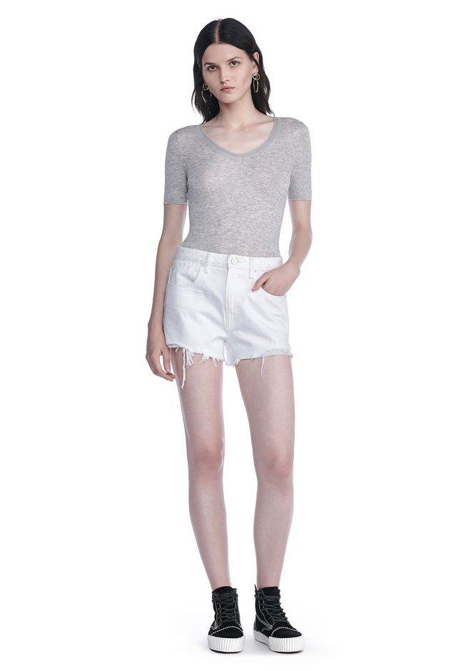 Alexander Wang Ribbed Short Sleeve Scoop Neck Knit Top Top