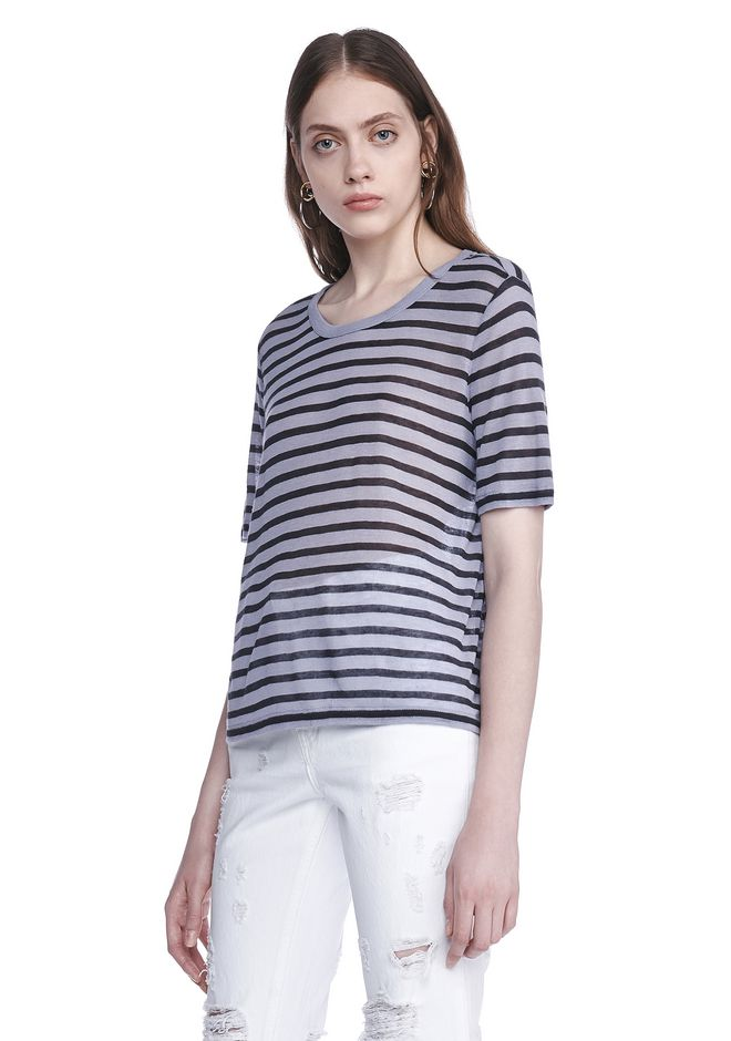 T by ALEXANDER WANG CROPPED STRIPE LINEN SHORT SLEEVE TEE 上衣 Adult 12_n_a