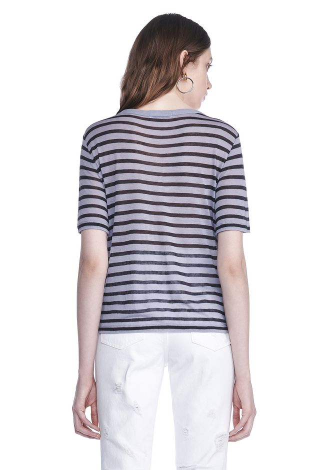 T by ALEXANDER WANG CROPPED STRIPE LINEN SHORT SLEEVE TEE 上衣 Adult 12_n_d