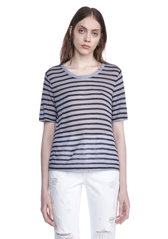 T by ALEXANDER WANG CROPPED STRIPE LINEN SHORT SLEEVE TEE 上衣 Adult 12_n_e