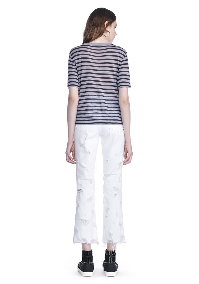 T by ALEXANDER WANG CROPPED STRIPE LINEN SHORT SLEEVE TEE 上衣 Adult 12_n_r