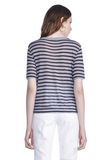 T by ALEXANDER WANG CROPPED STRIPE LINEN SHORT SLEEVE TEE 上衣 Adult 8_n_d