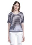 T by ALEXANDER WANG CROPPED STRIPE LINEN SHORT SLEEVE TEE 上衣 Adult 8_n_e