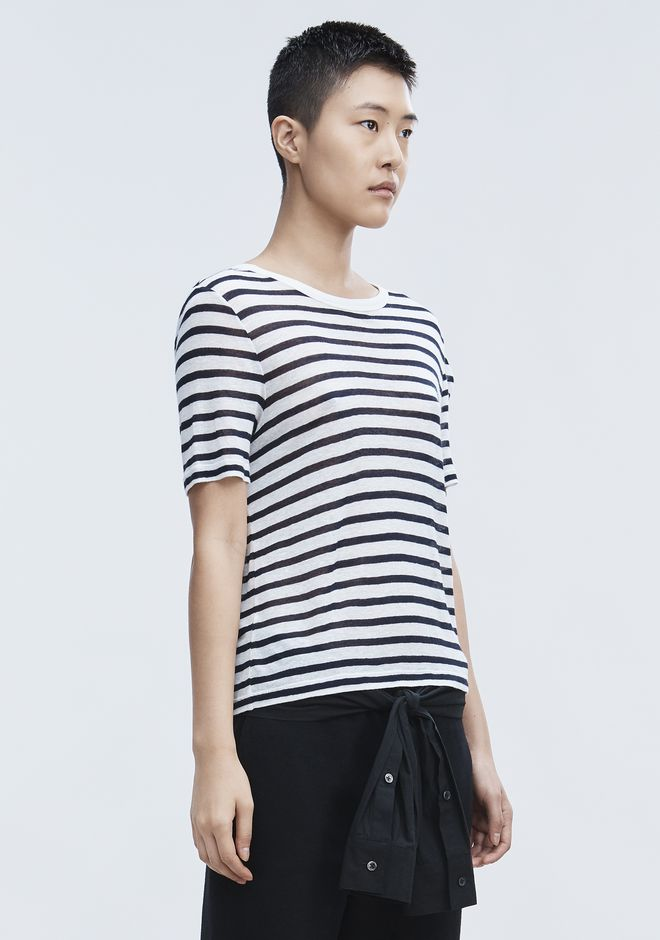 T by ALEXANDER WANG CROPPED STRIPE LINEN SHORT SLEEVE TEE TOP Adult 12_n_a